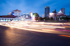 Night view of Ho Chi Minh City near Ben Tanh central market. HO CHI MINH CITY, VIETNAM - JUN 27: Night view of Ho Chi Minh City near Ben Tanh central market at stock photos