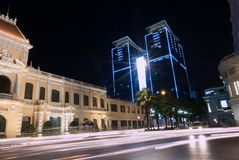 Night view of Ho Chi Minh City with trails of lights from traffi Stock Photo