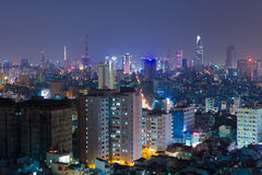 Night view of Ho Chi Minh cityscape, VIetnam Royalty Free Stock Photography