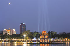 Night view of the Hoan Kiem Lake Lake of the Returned Sword and the Turtle Tower with full moon. Stock Images