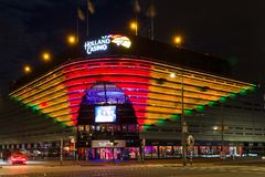 Night view of Holland Casino in the evening in Scheveningen, The Netherlands Royalty Free Stock Photos