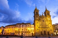 Holy Cross Church Igreja de Santa Cruz in Braga city, Portugal. Night view of the Holy Cross Church Portuguese: Igreja de Santa Cruz is a Portuguese 17th century stock photography