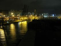 Night view of Hong Kong container port from container ship. Stock Image