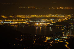 Night view of Hong Kong International Airport Royalty Free Stock Photo