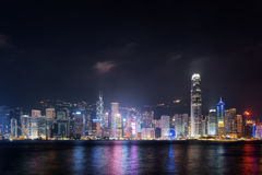 Night view of Hong Kong Island skyline Royalty Free Stock Images