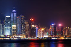 Night view of Hong Kong Island skyline from Kowloon side Royalty Free Stock Photography