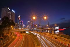 Night view of Hong Kong stock image
