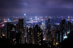 Night view of Hong Kong under Taiping Mountain Royalty Free Stock Image