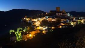 Night view of Hornos de Segura town Royalty Free Stock Image