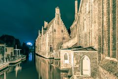 Night view Hospital of St John, Bruges, Belgium. Stock Image