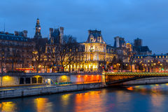 Night view of Hotel de Ville City Hall Paris , France Stock Images