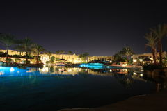 Night view of hotel in Egypt Royalty Free Stock Image