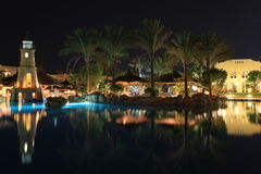 Night view of hotel in Egypt. Night view of a holiday resort, Sharm el Shaikh, Egypt Royalty Free Stock Photography