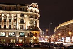 Night View of Hotel National and Tverskaya street, Royalty Free Stock Image