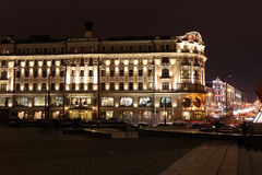 Night View of Hotel National and Tverskaya street, Stock Photos