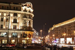 Night View of Hotel National and Tverskaya street, Royalty Free Stock Photos