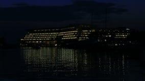 Night view of the hotel Porto Carras Meliton stock video footage