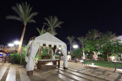 Night view of hotel spa in Egypt Stock Images