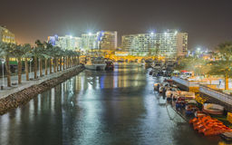 Night view on hotels and marina, Eilat Stock Photos