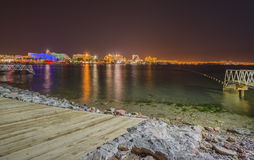 Night view on hotels and marina, Eilat Stock Image