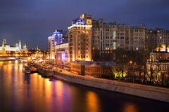 Night view of The House on the Embankment, Moscow. Night view of The House on the Embankment located in the Bersenevka neighborhood of the island opposite the Royalty Free Stock Photo