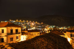 Night view of houses built amphitheatrically Royalty Free Stock Images