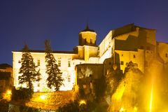 Night view of houses  in Cuenca. Spain Stock Photo