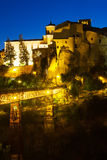 Night view of houses on the rocks in  Cuenca Stock Image