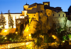 Night view of houses on rocks in Cuenca. Royalty Free Stock Photography