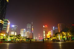 Night view of the Huacheng Plaza Stock Photography