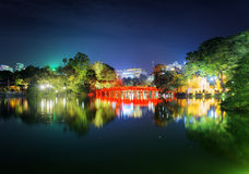 Night view of the Huc Bridge on the Sword Lake, Hanoi, Vietnam Stock Images