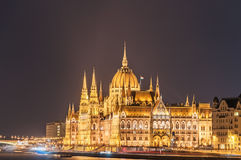 Night view of the Hungarian Parliament Building on the bank of the Danube in Budapest. Hungary Stock Photos