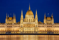 Night view of the Hungarian Parliament Building on the bank of the Danube in Budapest, Hungary Stock Image