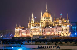 Night view of the Hungarian Parliament Building, Budapest, Europe. Night view of the illuminated Hungarian Parliament Building in Budapest, country of Europe Royalty Free Stock Image
