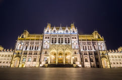 Night view of the Hungarian Parliament Building in Budapest, Hungary Royalty Free Stock Photo