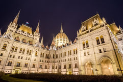 Night view of the Hungarian Parliament Building in Budapest, Hungary Royalty Free Stock Photography