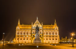 Night view of the Hungarian Parliament Building in Budapest, Hungary. Royalty Free Stock Photo