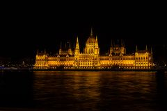 Night view of Hungarian Parliament Building, Budapest, Hungary royalty free stock image