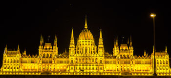 Night view of Hungary Parliament in Budapest Royalty Free Stock Photography