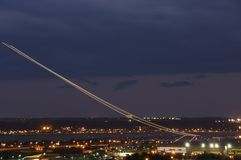 Night View III. Night view of aircraft taking off from Ronald Reagan National Airport Washington, DC royalty free stock photography