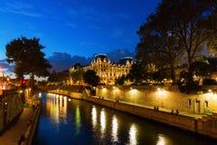 Night view of the Ile de la Cite in Paris Stock Photos