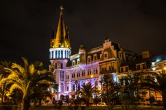 Night view of illuminated Batumi Astronomical Clock Tower building with palm tree royalty free stock photos