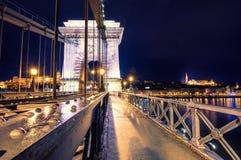 Night view of illuminated Budapest with Danube river, palace and bridge. Night view of illuminated Budapest with Danube river, palace and bridge, Hungary Stock Image