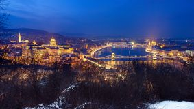 Night view of illuminated Budapest with Danube river, parliament, palace and bridge. Night view of illuminated Budapest with Danube river, parliament, palace Royalty Free Stock Photos