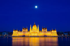 Night view of the illuminated building of the hungarian parliament in Budapest Royalty Free Stock Photos