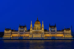 Night view of the illuminated building of the Hungarian Parliament in Budapest. Stock Photography