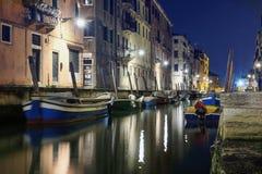 Night view of a illuminated chanal. Night view of a illuminated channel and colorful houses in Venice stock image