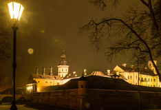 Night view of the illuminated medieval Nesvizh Castle at night Stock Photography