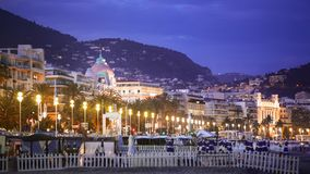 Night view of illuminated Promenade des Anglais in Nice, vacation in France stock photo