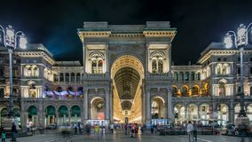 Night view of Vittorio Emanuele II Gallery timelapse in Milan, Italy. Night view of illuminated Vittorio Emanuele II Gallery timelapse in Milan, Italy. People stock video